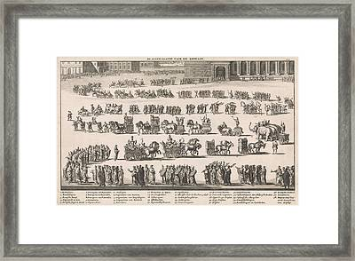 Festive Procession Towards The Roman Amphitheater Framed Print by Jan Luyken And Fran?ois Halma And Willem Van De Water