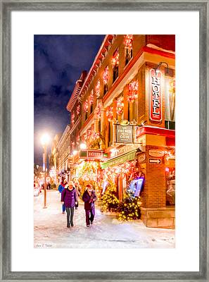 Festive Streets Of Old Quebec Framed Print