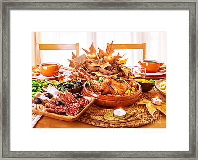 Festive Thanksgiving Day Dinner Framed Print by Anna Om