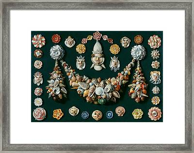 Festoon Masks And Rosettes Made Of Shells Framed Print