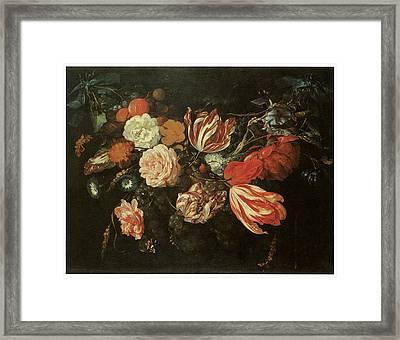 Festoon Of Flowers Framed Print by Jan Davidsz De Heem