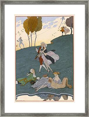 Fetes Galantes Framed Print by Georges Barbier