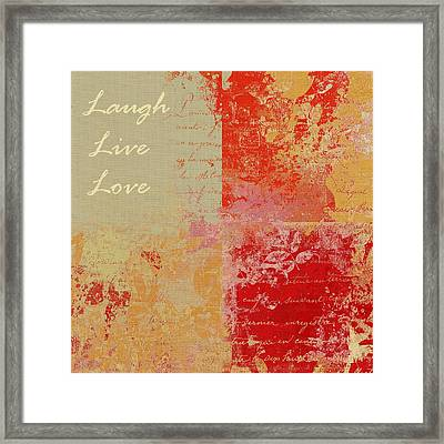 Feuilleton De Nature - Laugh Live Love - 01at01 Framed Print by Variance Collections