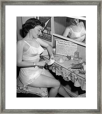 Fewer Falsies For Cleveland Framed Print by Underwood Archives