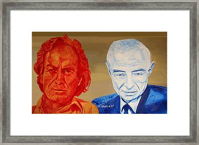 Feynman And Oppenhiemer Framed Print by Roger Medcalf