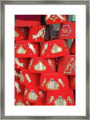 Fez Hat For Sale, Tunisia, North Africa Framed Print by Nico Tondini