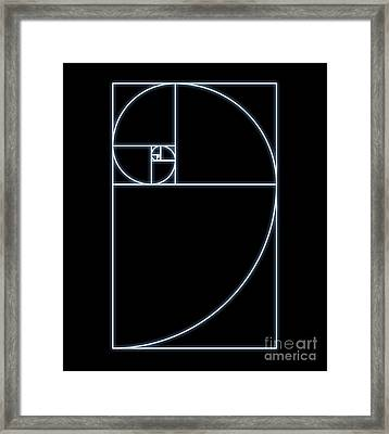 Fibonacci Spiral, Computer Artwork Framed Print