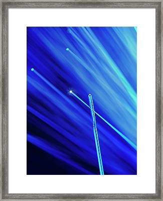 Fibre Optic And Needle Framed Print by Science Photo Library