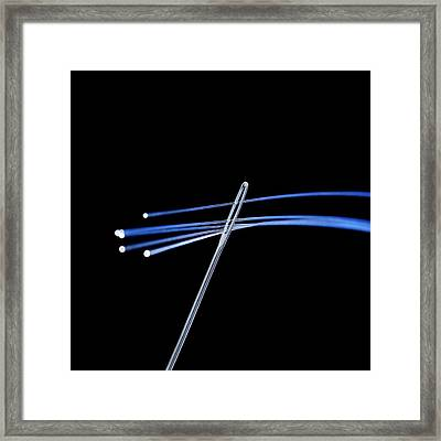 Fibre Optics And Needle Framed Print by Science Photo Library
