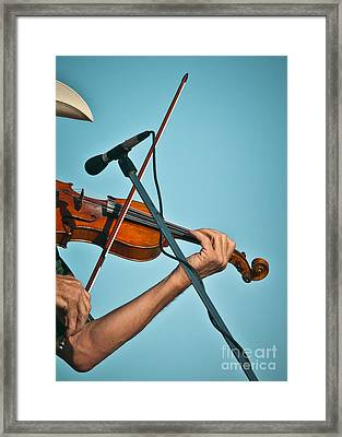 Fiddler On Blue Framed Print