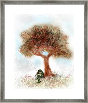 Fiddling Frog Framed Print