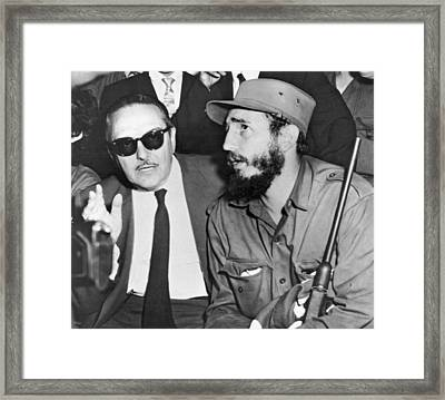 Fidel Castro And Urrutia Framed Print by Underwood Archives