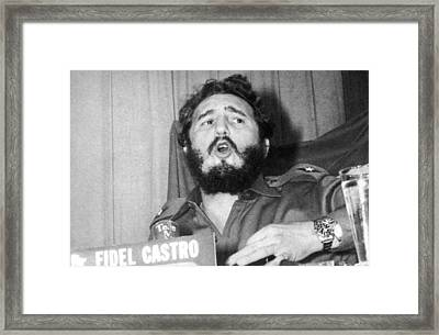 Fidel Castro Speaking Framed Print by Underwood Archives
