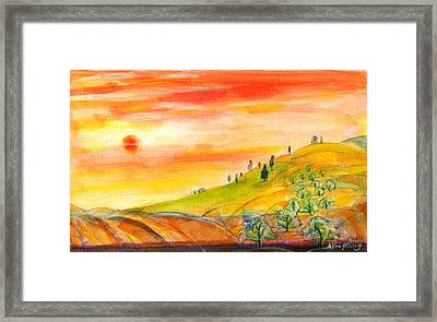 Field And Sunset Framed Print by Mary Armstrong