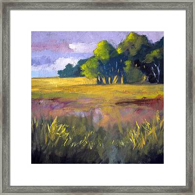Field Grass Landscape Painting Framed Print