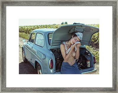Field, Heat, Girl And Car. Framed Print