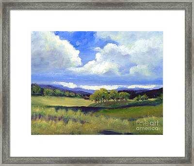 Framed Print featuring the painting Field In Spring by Sally Simon