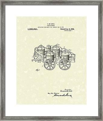 Field Kitchen 1920 Patent Art Framed Print