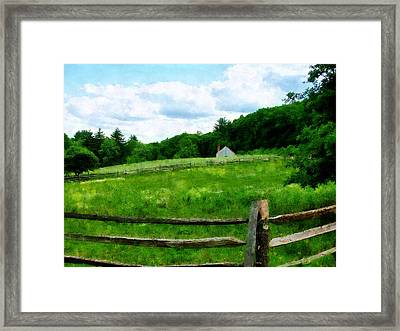 Field Near Weathered Barn Framed Print by Susan Savad