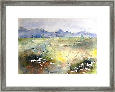 Framed Print featuring the painting Field Of Daisies by Marilyn Zalatan
