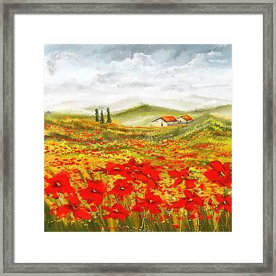 Field Of Dreams - Poppy Field Paintings Framed Print