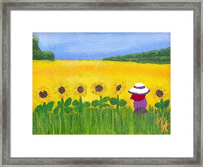 Framed Print featuring the painting Field Of Gold by Margaret Harmon