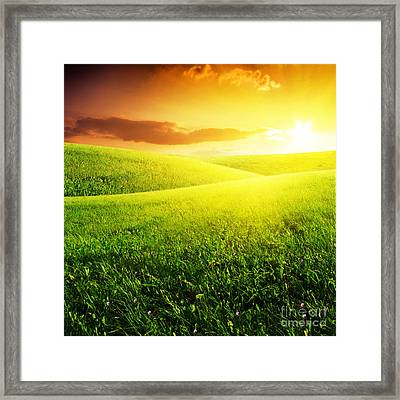 Field Of Grass And Sunset Framed Print by Boon Mee