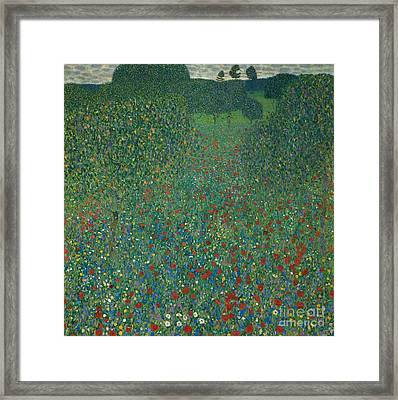 Field Of Poppies Framed Print by Gustav Klimt
