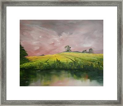 Framed Print featuring the painting Field Of Rapeseed Oil by Jean Walker