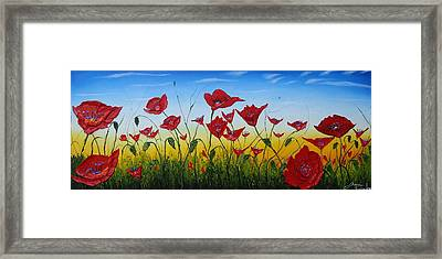 Field Of Red Poppies 4 Framed Print by Portland Art Creations