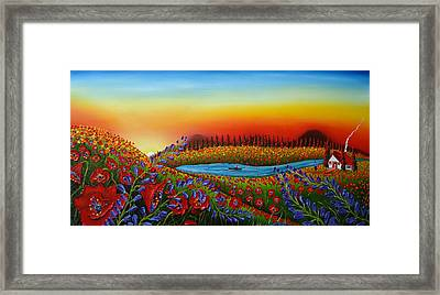 Field Of Red Poppies At Dusk 2 Framed Print by Portland Art Creations