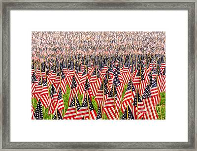 Field Of Us Flags Framed Print by Mike Ste Marie