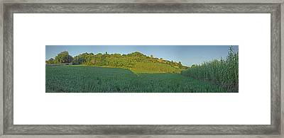 Field With Medieval Town Of Pals, Costa Framed Print