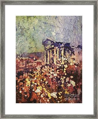 Fields Of Flower- And Roman Temple Framed Print