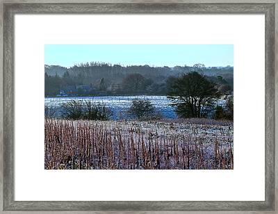 Fields Of Frost Framed Print by Karen Grist