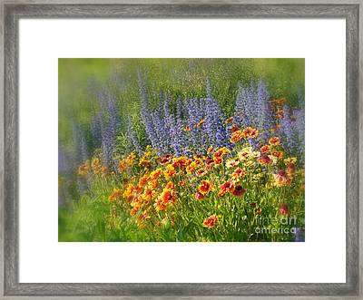 Fields Of Lavender And Orange Blanket Flowers Framed Print by Lingfai Leung