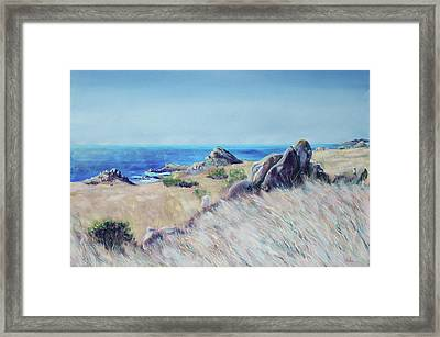 Fields With Rocks And Sea Framed Print by Asha Carolyn Young