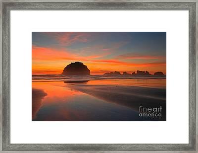 Fiery Bandon Beach Framed Print by Adam Jewell