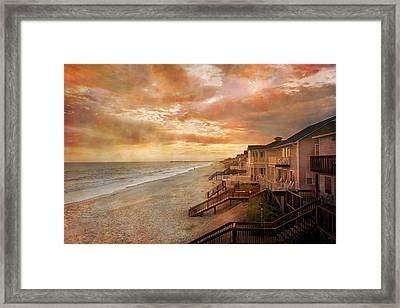 Fiery Calm Coastal Sunset Framed Print by Betsy Knapp