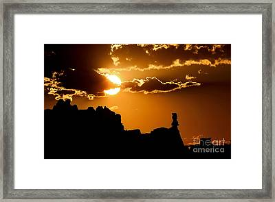 Fiery Desert Sky Framed Print by Marty Fancy
