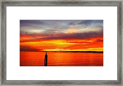 Fiery Fall Sunset Framed Print by Stephen Melcher