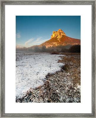 Fiery Mountain Top Framed Print by Davorin Mance