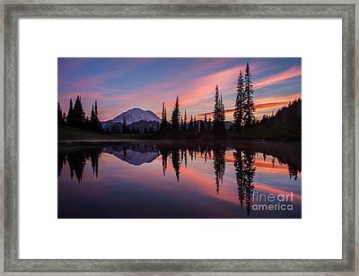 Fiery Rainier Sunset Framed Print by Mike Reid
