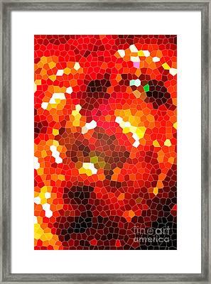Fiery Red Stained Glass Framed Print by Gaspar Avila