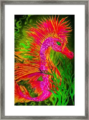 Fiery Sea Horse Framed Print by Adria Trail