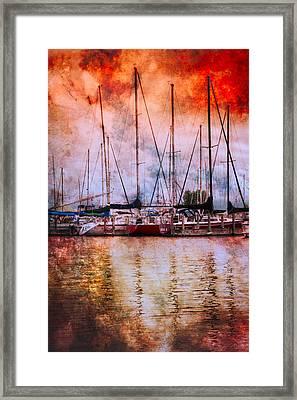 Fiery Skies Framed Print by Debra and Dave Vanderlaan