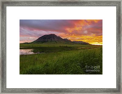 Fiery Sky Over Bear Butte Framed Print