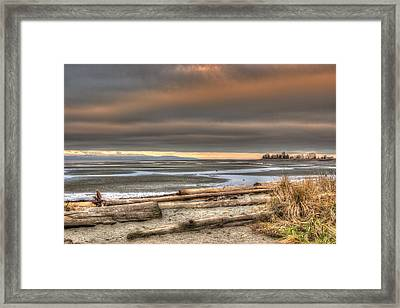 Fiery Sky Over The Salish Sea Framed Print