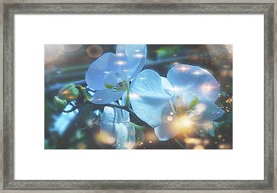 Fiery Sparks With Stars Framed Print