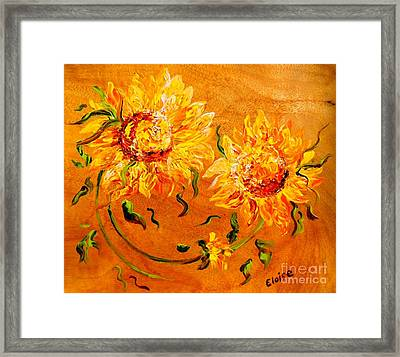 Fiery Sunflowers On Wood Framed Print by Eloise Schneider